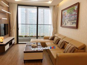 Hình ảnh Sofa da phòng khách đẹp nhà chung cư hiện đại thiết kế hình chữ L tiện lợi
