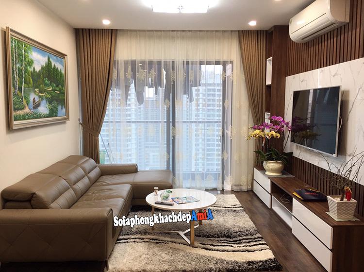 Hình ảnh Sofa góc L nhỏ giá rẻ chung cư đẹp hiện đại và sang trọng