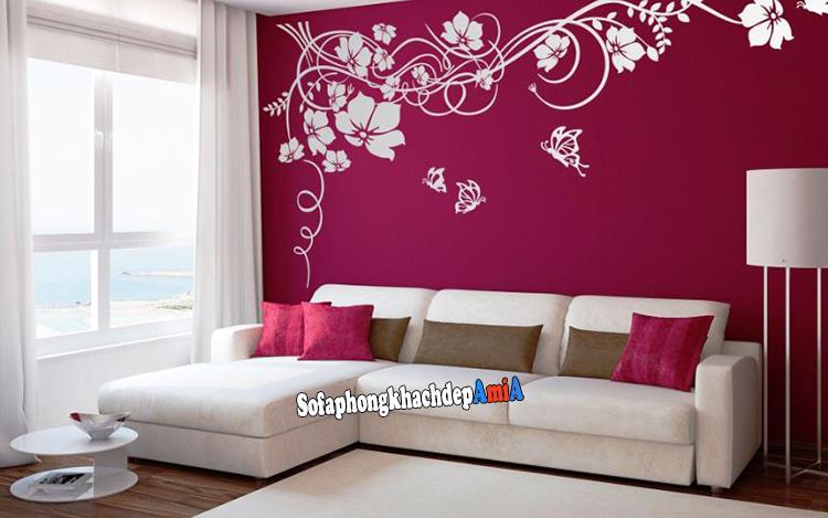 Hình ảnh Sofa góc nhỏ đẹp màu trắng hiện đại cho phòng khách nhỏ