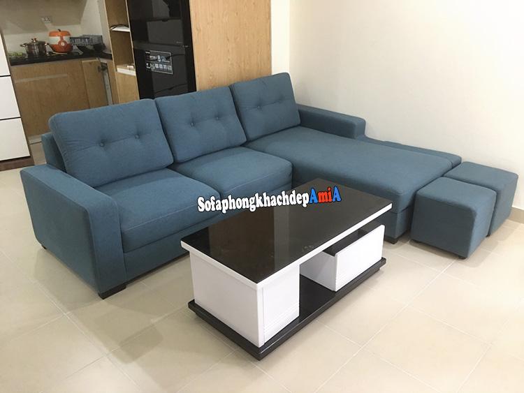 Hình ảnh Sofa góc nhỏ gọn phòng khách đẹp kết hợp bàn trà sofa hiện đại