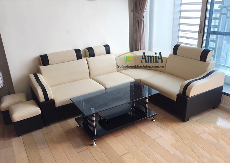 Hình ảnh Sofa góc nhỏ mini cho phòng khách nhà chung cư với hình ảnh thực tế tại nhà khách hàng
