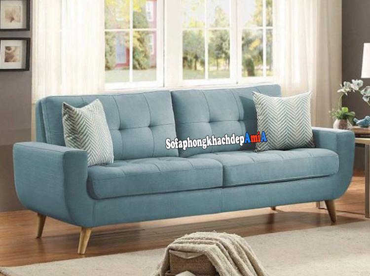 Hình ảnh Sofa nhỏ đẹp thiết kế dạng văng nhỏ 2 chỗ màu xanh ngọc hiện đại