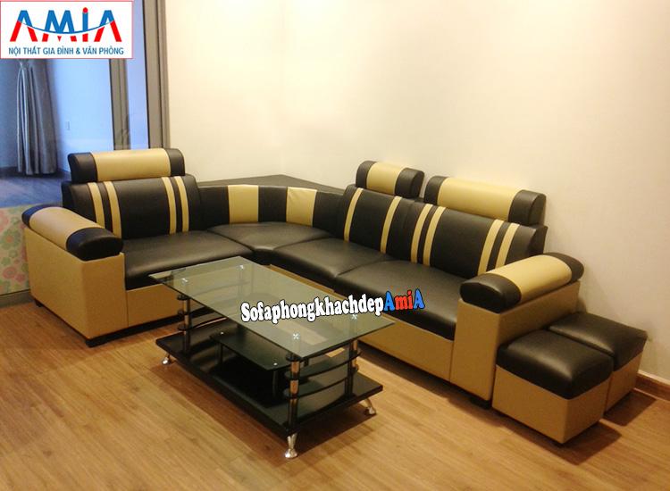 Hình ảnh Sofa nhỏ mini dạng góc giá rẻ kê phòng khách đẹp với hình ảnh thực tế nhà khách