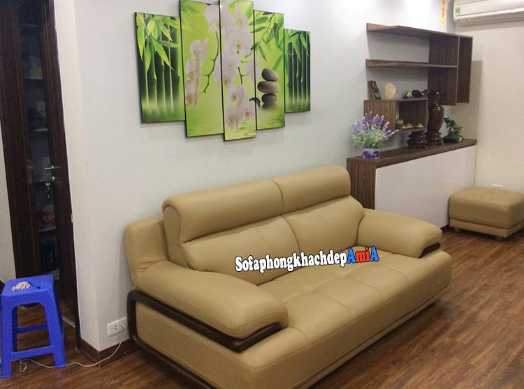 Hình ảnh Sofa nhỏ mini giá rẻ Hà Nội thiết kế dạng ghế sofa văng da cho phòng khách đẹp