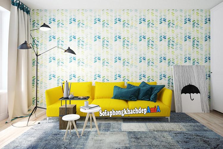 Hình ảnh Sofa nhỏ xinh xắn cho phòng khách nhỏ với gam màu vàng nổi bật, tạo điểm nhấn