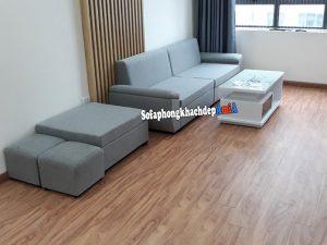 Hình ảnh Sofa văng nhỏ mini giá rẻ nhà chung cư kèm đôn lớn và đôn nhỏ linh hoạt di chuyển, vận chuyển