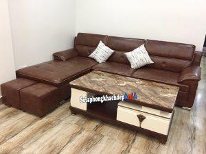 Hình ảnh Bàn sofa phòng khách nhỏ đẹp mặt đá cao cấp kết hợp cùng bộ ghế sofa da góc chữ L