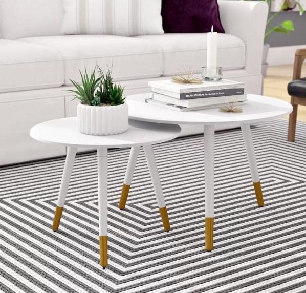 Hình ảnh Bàn trà sofa hình tròn hiện đại cho phòng khách nhỏ hẹp có diện tích vừa và nhỏ
