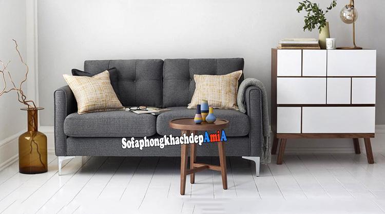 Hình ảnh Bộ bàn ghế sofa phòng khách nhỏ giá rẻ thiết kế dạng sofa văng nỉ 2 chỗ