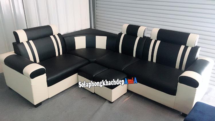 Hình ảnh Bộ ghế sofa góc phòng khách nhỏ giá rẻ màu đen trắng phối hợp