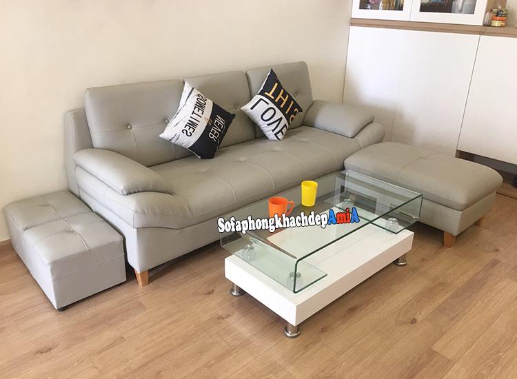 Hình ảnh Bộ sofa phòng khách nhỏ đẹp giá rẻ kết hợp đôn lớn và bàn trà kính đẹp
