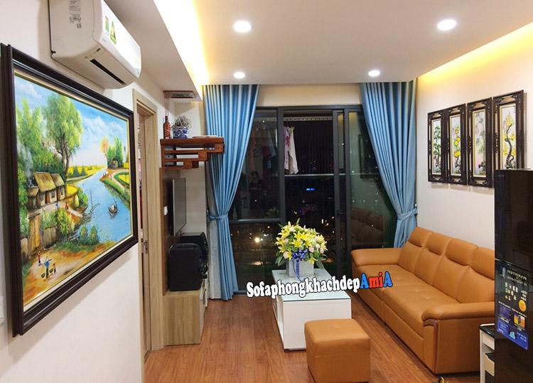 Hình ảnh Ghế sofa cho phòng khách nhỏ hẹp bài trí sát tường kết hợp bàn trà sofa kích thước nhỏ xinh