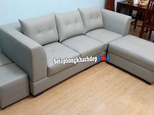 Hình ảnh Sofa cho phòng khách nhỏ giá rẻ dạng văng 3 chỗ kèm đôn lớn, đôn nhỏ