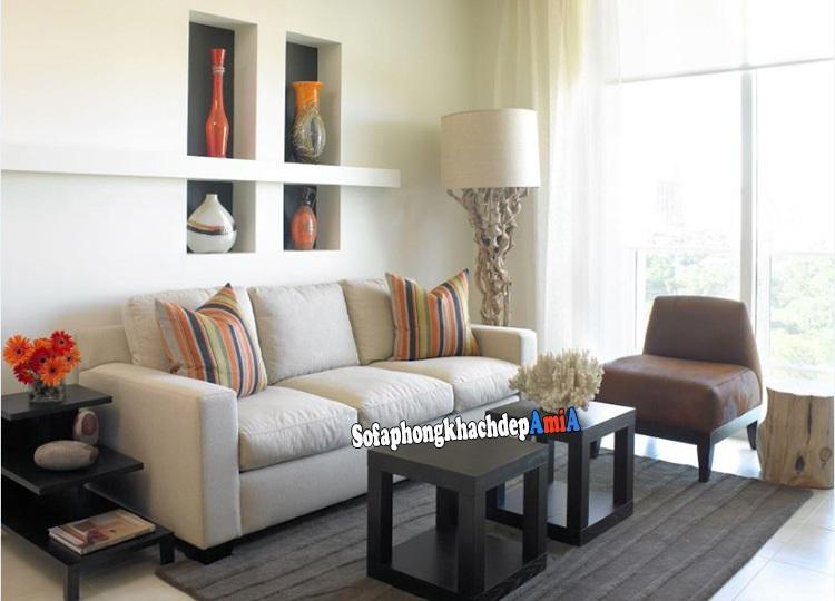 Hình ảnh Sofa cho phòng khách nhỏ hẹp giá rẻ kết hợp bàn trà xinh xắn