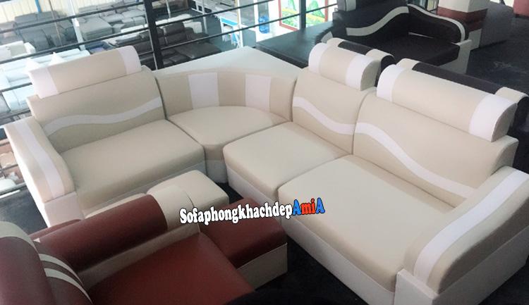 Hình ảnh Sofa góc nhỏ phòng khách giá rẻ màu kem sữa kết hợp trắng đẹp hiện đại
