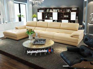 Hình ảnh Sofa hiện đại kê phòng khách biệt thự dạng sofa da góc chữ L màu kem sang trọng