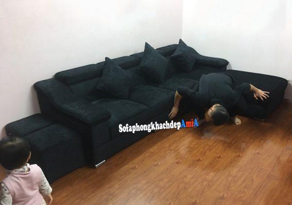 Hình ảnh Sofa nỉ giá rẻ phòng khách hình chữ L hiện đại cho nhà phố, nhà chung cư