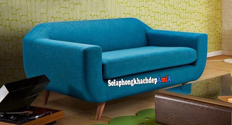 Hình ảnh Ghế sofa văng nhỏ cho phòng khách hẹp màu xanh cô ban đẹp hiện đại