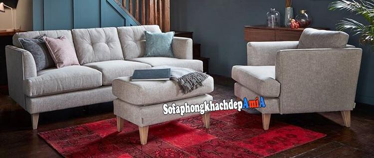 Hình ảnh Bộ bàn ghế sofa phòng khách nhỏ tphcm với ghế sofa văng kết hợp ghế sofa đơn và đôn lớn