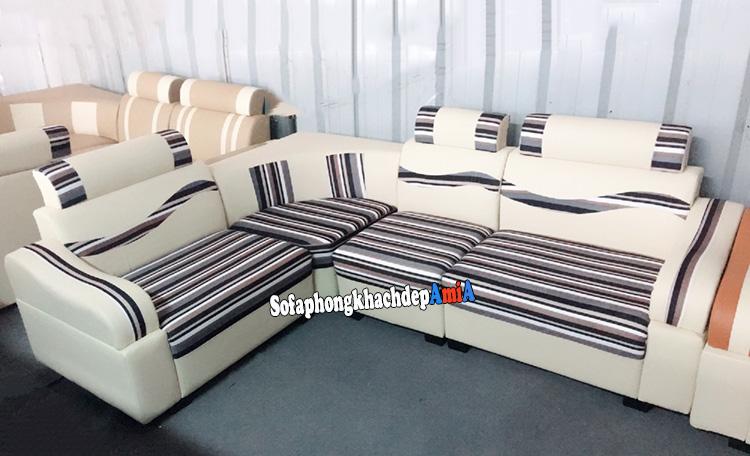 Hình ảnh Sofa góc nhỏ cho phòng khách tphcm chất liệu da pha nỉ hiện đại