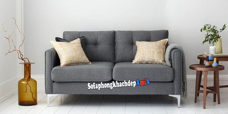 Hình ảnh Sofa văng phòng khách nhỏ tphcm thiết kế văng 2 chỗ chân đế inox