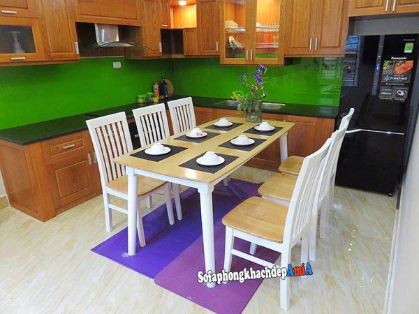 Hình ảnh Bàn ăn 6 ghế giá rẻ hiện đại chất liệu gỗ tự nhiên