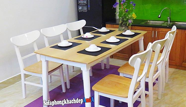 Hình ảnh Bàn ăn 6 ghế hiện đại gỗ sồi cho phòng ăn gia đình