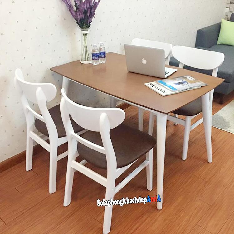 Hình ảnh Bàn ghế ăn 4 ghế giá rẻ Mango cho phòng ăn nhỏ xinh