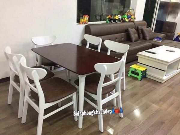 Hình ảnh Bàn ghế ăn bằng gỗ Mango cho phòng ăn hiện đại
