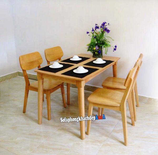 Hình ảnh bàn ghế ăn giá rẻ 4 ghế bằng gỗ tự nhiên màu sắc thân thuộc cho gia đình nhỏ