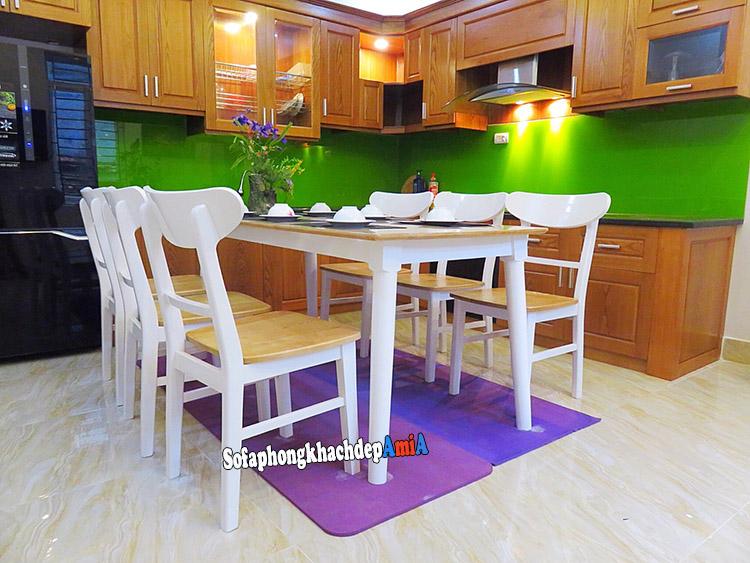 Hình ảnh Bàn ghế ăn gỗ Sồi giá rẻ 6 ghế cho nhà xinh