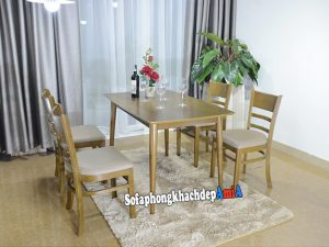 Hình ảnh Bàn ghế ăn gỗ sồi Mostar 4 ghế đẹp hiện đại