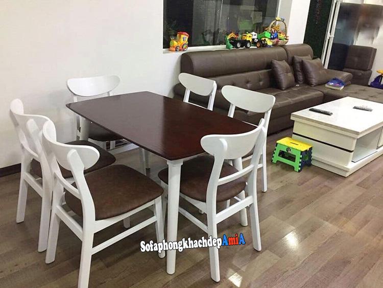 Hình ảnh Bàn ghế phòng ăn đẹp hiện đại với không gian dùng chung phòng khách gia đình