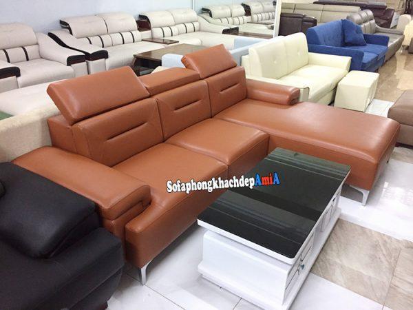 Hình ảnh Bàn ghế sofa phòng khách cao cấp da nhập khẩu thiết kế hình chữ L