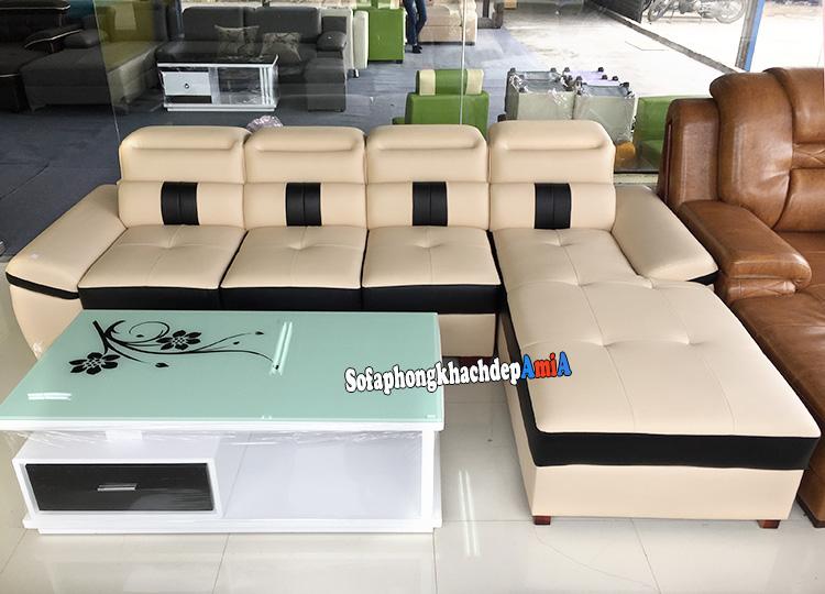 Hình ảnh Bàn ghế sofa phòng khách da nhập khẩu cao cấp đẹp hiện đại tại kho sofa AmiA
