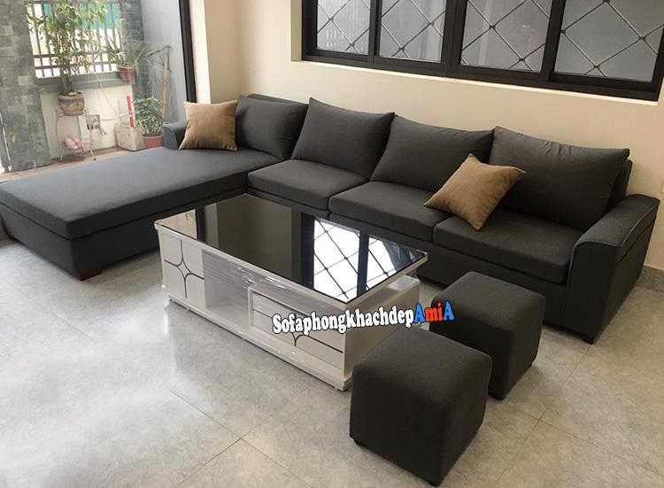 Hình ảnh Bàn ghế sofa phòng khách đẹp Nguyễn Tuân thiết kế hình chữ L chất liệu nỉ