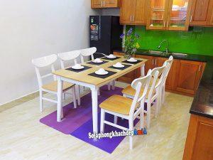Hình ảnh Bộ bàn ăn 6 ghế gỗ Sồi giá tẻ màu trắng hiện đại và sang trọng