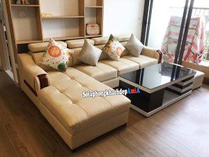 Hình ảnh Bộ bàn ghế sofa da phòng khách hình chữ L đẹp hiện đại
