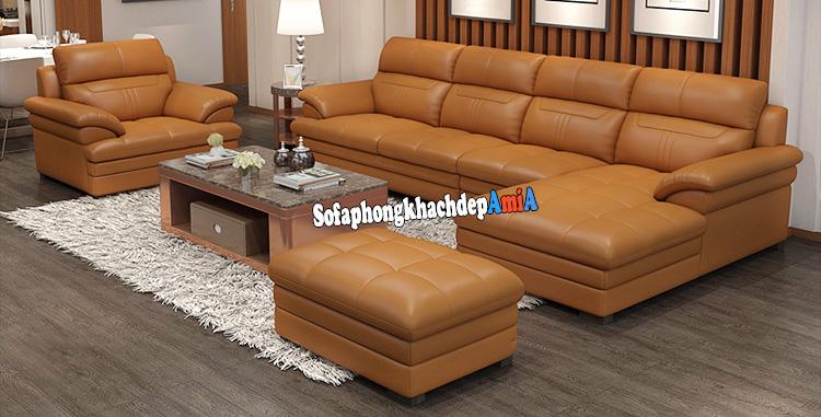 Hình ảnh Các mẫu sofa da bò phòng khách đẹp thiết kế hình chữ L tiện lợi