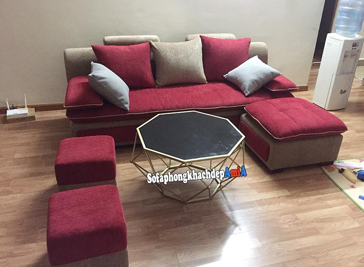 Hình ảnh Mẫu sofa văng nỉ phòng khách đẹp hiện đại bài trí sát tường cùng bàn trà sofa hiện đại đẹp mê ly