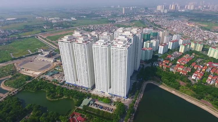 Hình ảnh Dự án chung cư Linh Đàm Hà Nội với nhiều tòa nhà cao tầng, hàng nghìn căn hộ lớn nhỏ