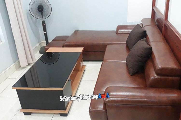 Hình ảnh Ghế sofa da bò đẹp phòng khách chụp thực tế tại nhà khách hàng