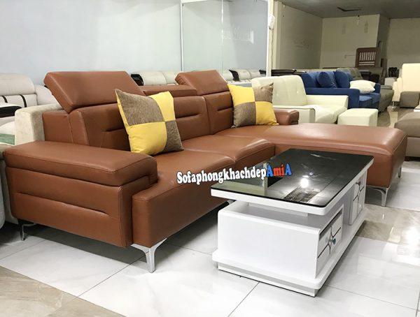 Hình ảnh Ghế sofa da cao cấp nhập khẩu Hàn Quốc màu da bò đẹp hiện đại