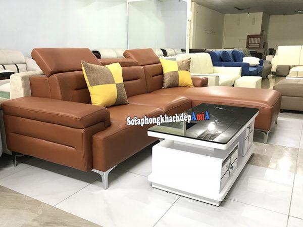 Hình ảnh Ghế sofa da cao cấp phòng khách đẹp màu da bò