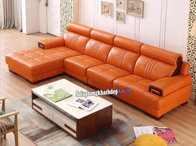 Hình ảnh Ghế sofa da đẹp màu da bò hiện đại và sang trọng với thiết kế hình chữ L