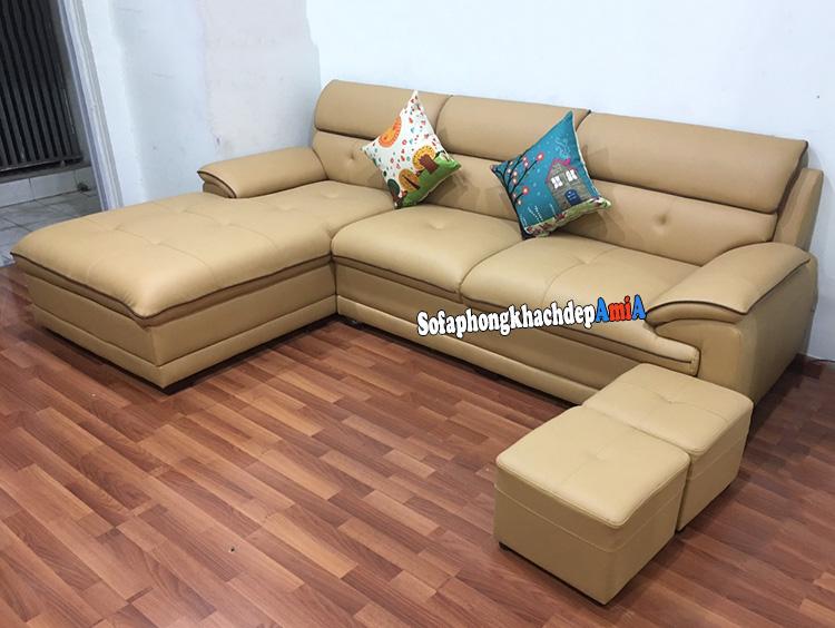 Hình ảnh Ghế sofa da phòng khách đẹp màu kem hiện đại và sang trọng mã sofa 152