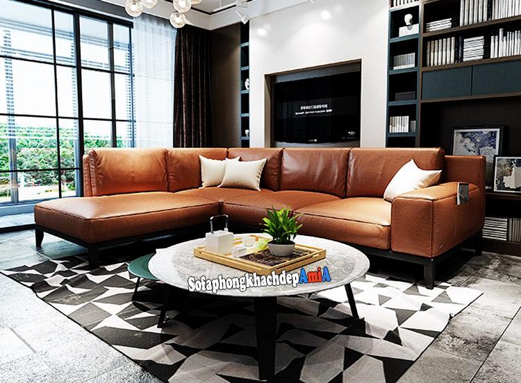 Hình ảnh Ghế sofa da phòng khách màu da bò hiện đại và sang trọng cho phòng khách rộng