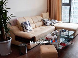 Hình ảnh Ghế sofa phòng khách da chữ L cho chung cư bài trí gọn gàng và ngăn nắp