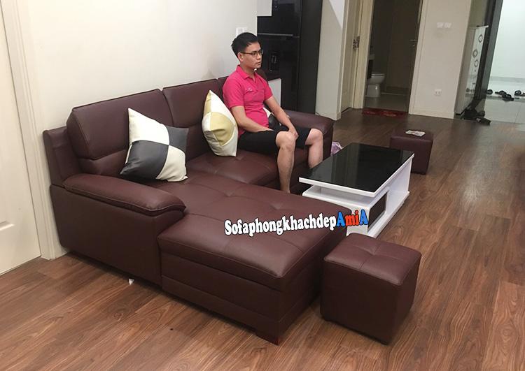 Hình ảnh Ghế sofa phòng khách đẹp Linh Đàm thiết kế hình chữ L tiện lợi cho nhà chung cư