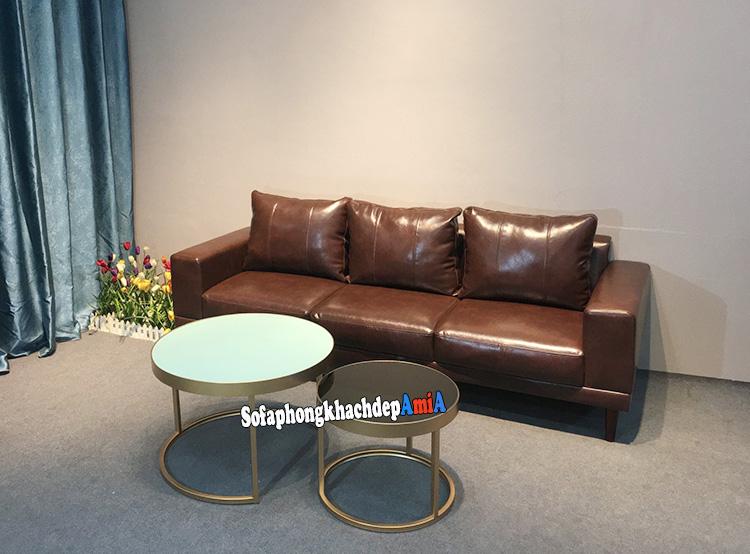 Hình ảnh Ghế sofa văng da đẹp màu da bò cho phòng khách nhỏ xinh